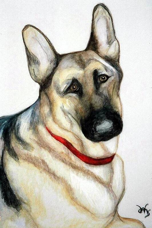 German Shepherd Pet Potraits Art Print featuring the painting Chief by Debra Sandstrom