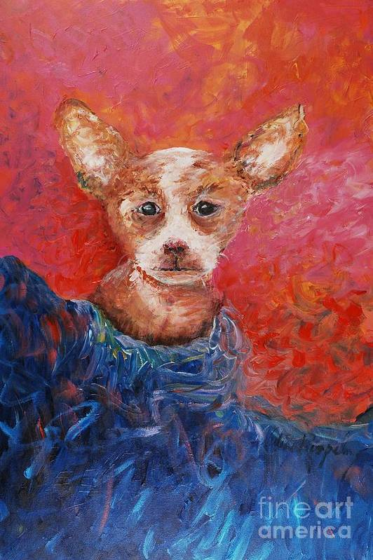 Dog Art Print featuring the painting Chihuahua Blues by Nadine Rippelmeyer