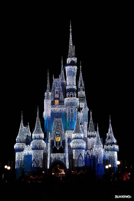 Disney Art Print featuring the photograph Christmas Castle by Al Blackford