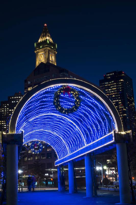 Christmas In Boston Massachusetts.Christopher Columbus Park Trellis Lit Up In Blue For Christmas Boston Ma Art Print