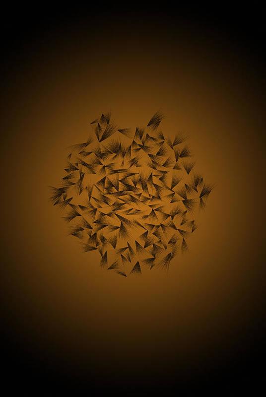Pencil Art Print featuring the digital art Cindy's Flower Dark by Troy Harris