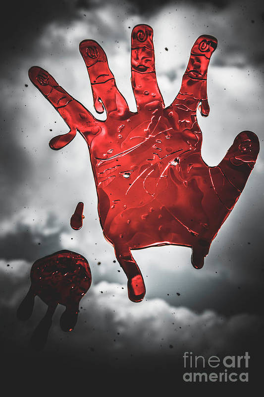 Closeup Of Scary Bloody Hand Print On Glass Art Print