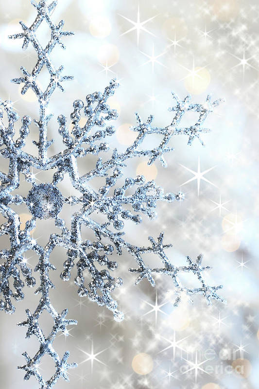 Background Print featuring the photograph Closeup Of Snowflake by Sandra Cunningham