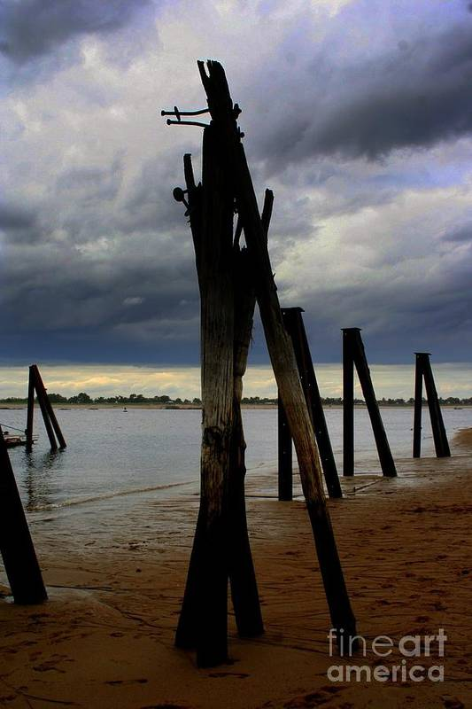 Plum Island Art Print featuring the photograph Clouds And Iron Pillars by John Kenealy