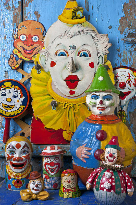 Clown Toys Face Antiques Playthings Art Print featuring the photograph Clown Toys by Garry Gay
