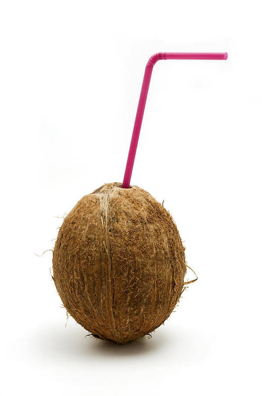 White Background Art Print featuring the photograph Coconut With A Straw by Fabrizio Troiani