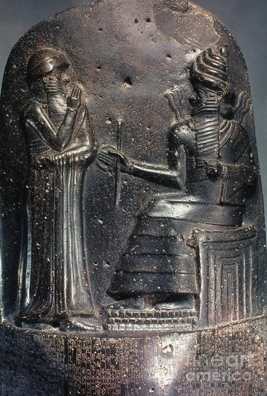 18th Century B.c. Art Print featuring the photograph Code Of Hammurabi (detail) by Granger