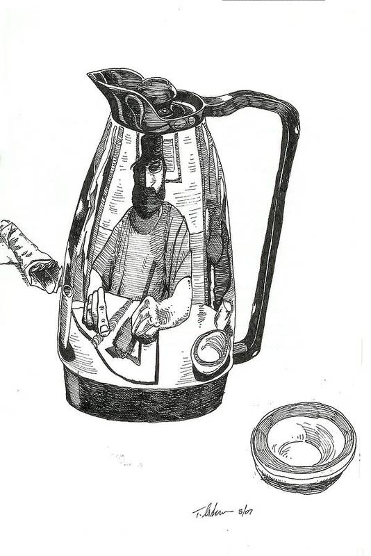 Pen And Ink Art Print featuring the drawing Coffee Pot by Tobey Anderson