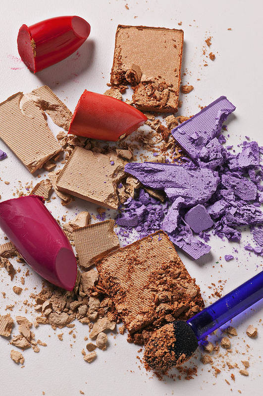 Cosmetics Art Print featuring the photograph Cosmetics Mess by Garry Gay