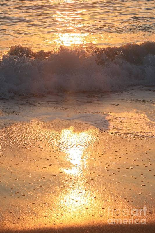 Waves Art Print featuring the photograph Crashing Wave At Sunrise by Nadine Rippelmeyer