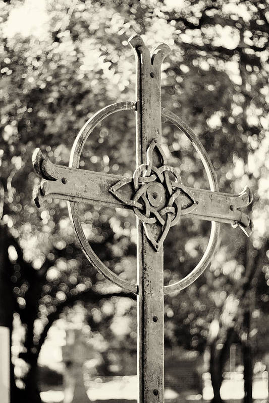 Cross Art Print featuring the photograph Cross At Dublin Pioneer Cemetery by Troy Montemayor