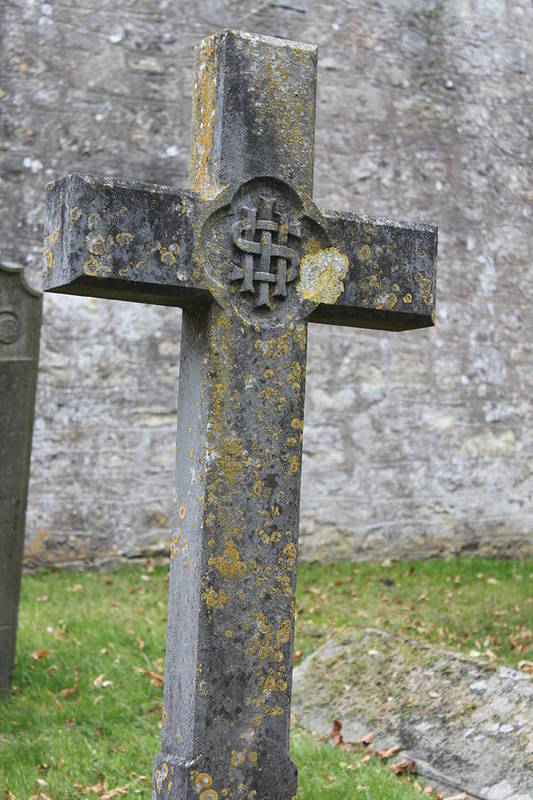 Cross Art Print featuring the photograph Cross Tombstone St. Mary's Wedmore by Lauri Novak