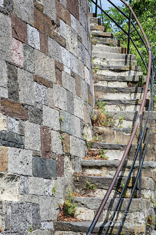 Brick Art Print featuring the photograph Curved Stone Staircase 235 by Maria Struss