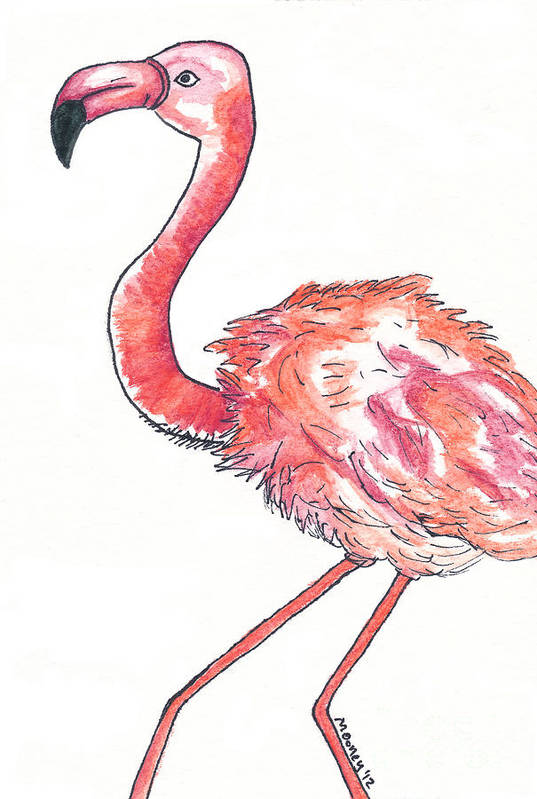 Watercolor Drawing Art Print featuring the drawing Da Flamingo by Michael Mooney