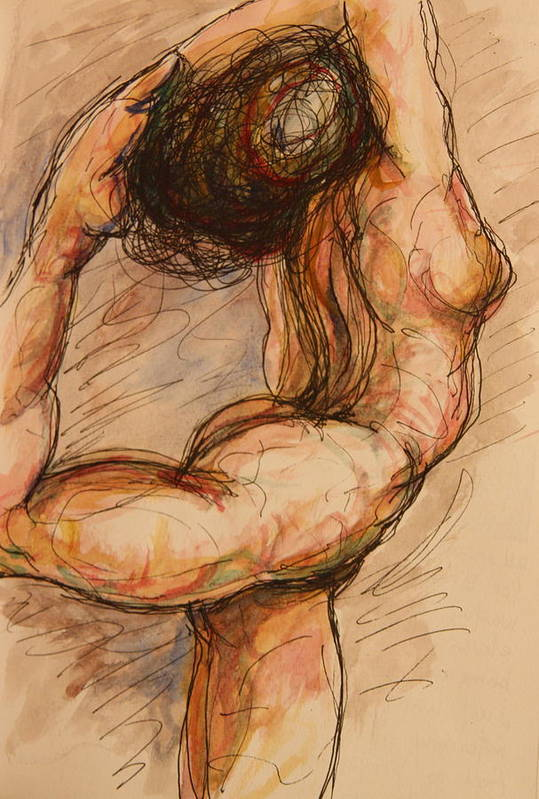 Female Nude Art Print featuring the painting Dance After Rodin by Dan Earle