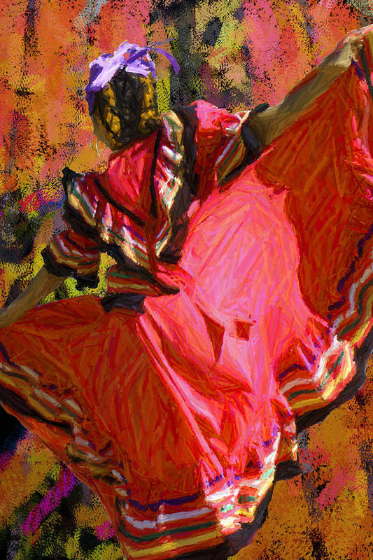 Dance Art Print featuring the painting Dancer In Reds by Maggie Smith