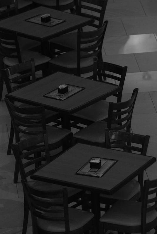 Tables Art Print featuring the photograph Dark Tables by Rob Hans