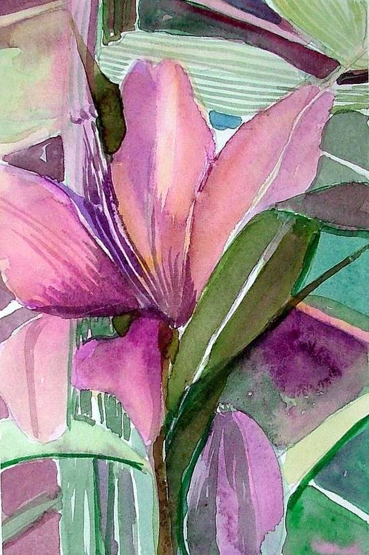 Flower Art Print featuring the painting Day Lily Pink by Mindy Newman