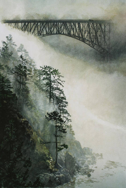 Fog Print featuring the painting Deception Pass Fog by Perry Woodfin