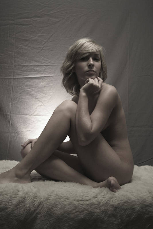 Nude Art Print featuring the painting Deep In Thought by Tom Hufford
