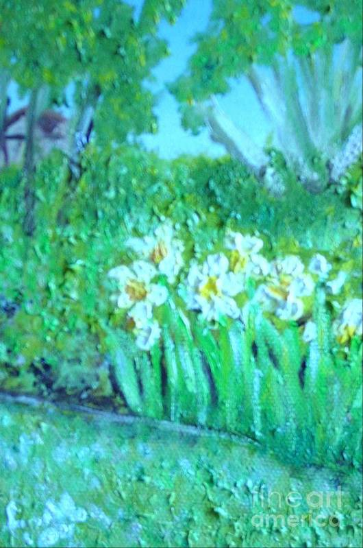 Daffodils Art Print featuring the painting Dependable Daffodils by Laurie Morgan