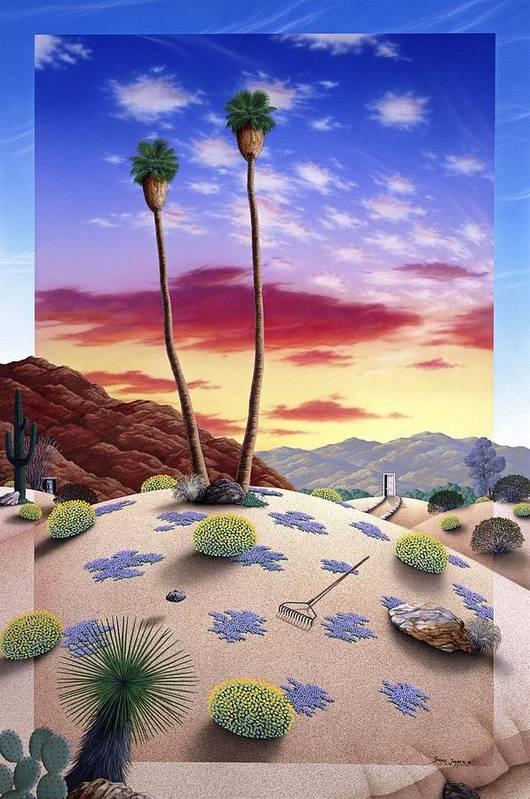 Desert Art Print featuring the painting Desert Sunrise by Snake Jagger