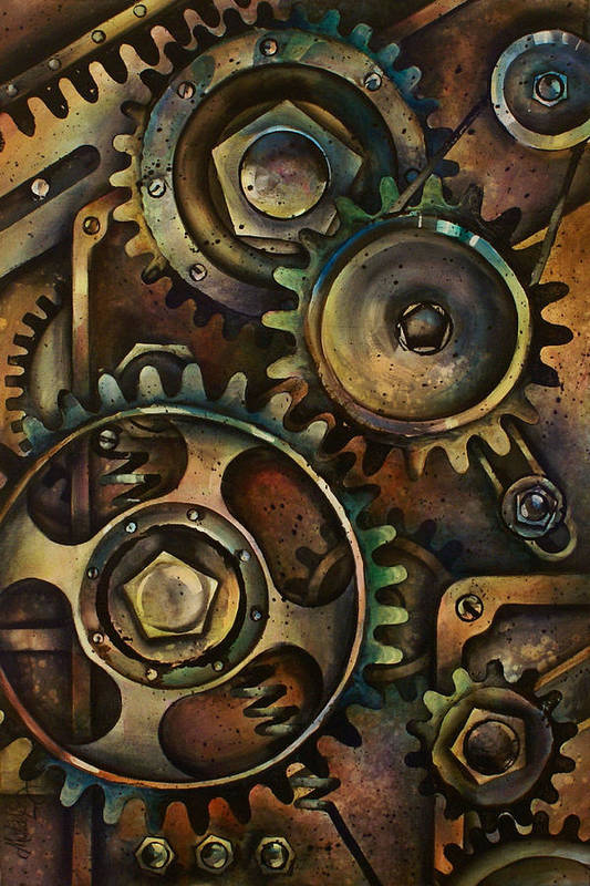 Mechanical Design Machine Gears Pullys Springs Circles Variable Color Industrial Art Print featuring the painting Design 3 by Michael Lang
