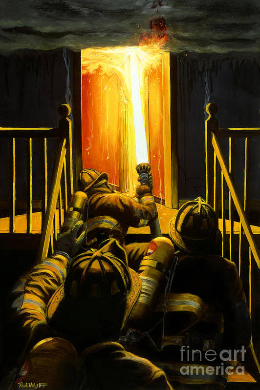 Firefighting Art Print featuring the painting Devil's Stairway by Paul Walsh