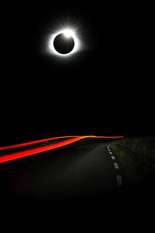 Sun Art Print featuring the painting Diamond Ring Solar Eclips Over Route 66 By Adam Asar by Adam Asar