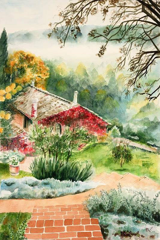 View Of Pathway To Red Cottage And Mountains In Mist Art Print featuring the painting Dievole Vineyard In Tuscany by Judy Swerlick