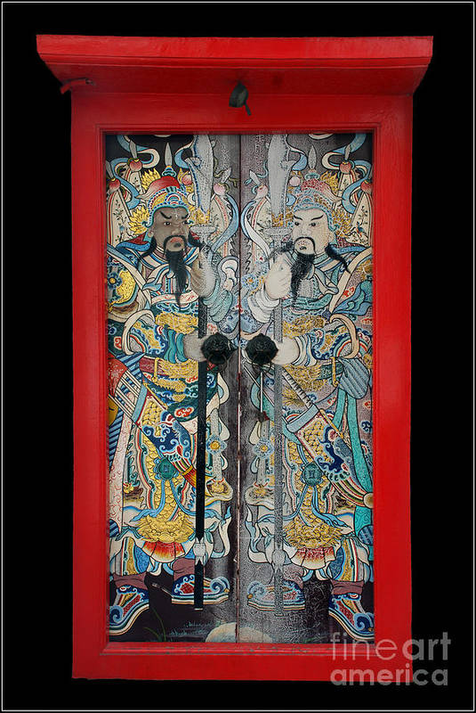 Culture China Chinese God Red Color Art Print featuring the photograph Door Gods With Red Door Frame by Ty Lee