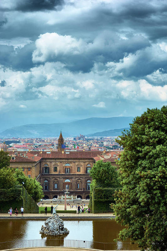 The Pitti Palace and the Fountain of Neptune in Florence
