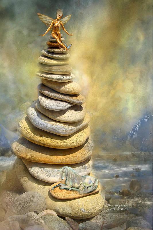 Fairy Art Print featuring the mixed media Dreaming Stones by Carol Cavalaris