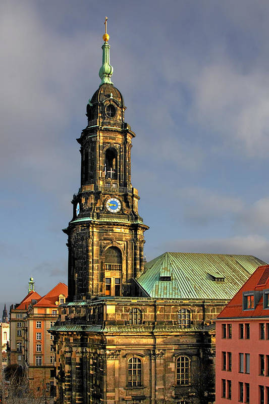 Germany Print featuring the photograph Dresden Kreuzkirche - Church Of The Holy Cross by Christine Till