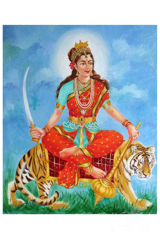 Durga Devi Art Print featuring the painting Durga Devi by Kalpana Talpade Ranadive