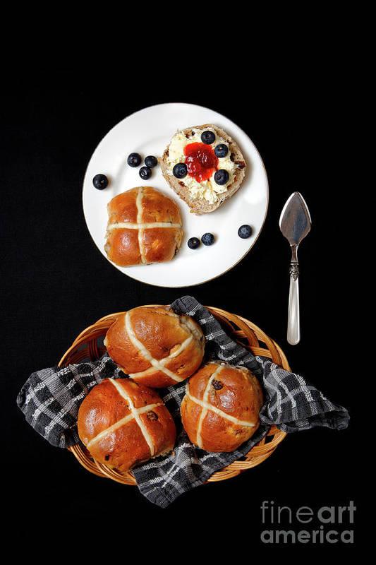 Hot Art Print featuring the photograph Easter Hot Cross Buns by Nicholas Burningham
