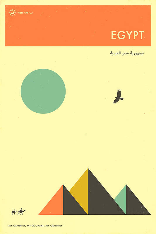 Egypt Art Print featuring the digital art Egypt Travel Poster by Jazzberry Blue