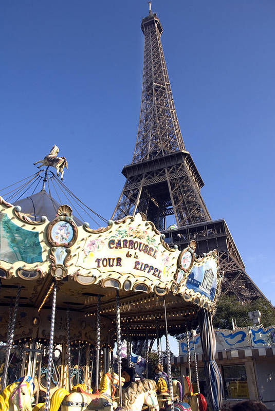 Eiffel Tower Art Print featuring the photograph Eiffel Tower And Ancient Carousel by Charles Ridgway