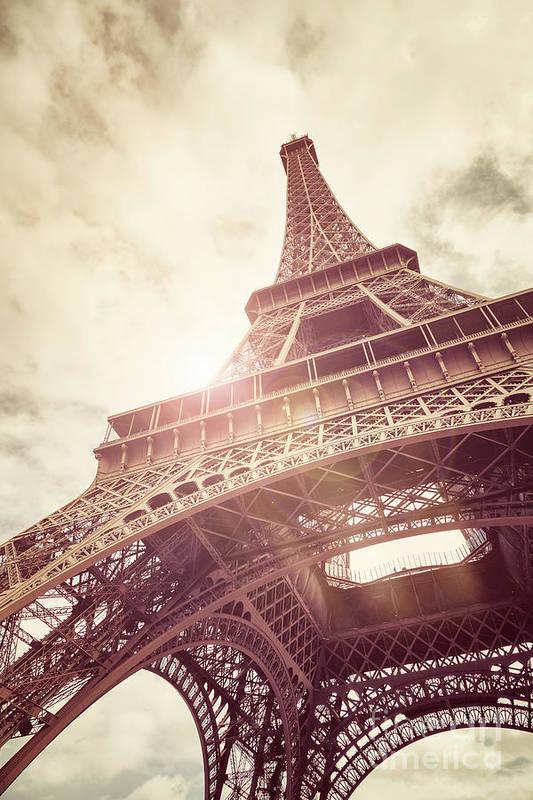 Eiffel Art Print featuring the photograph Eiffel Tower In Sunlight by Jane Rix