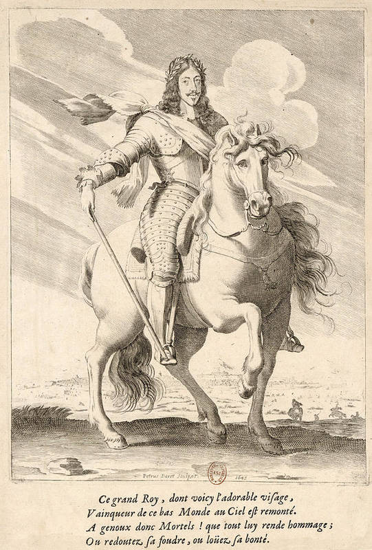 Pierre Daret Art Print featuring the drawing Equestrian Portrait Of Louis Xiii Of France by Pierre Daret