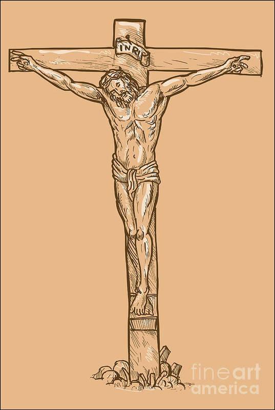Jesus Art Print featuring the digital art esus Christ hanging on the cross by Aloysius Patrimonio