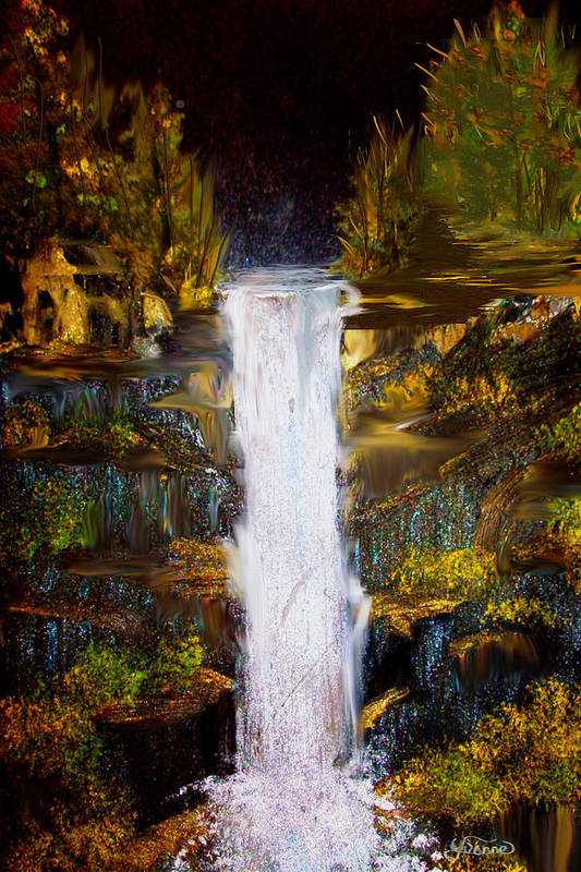 Waterfall Art Print featuring the painting Evening Waterfall by Darlene Bell
