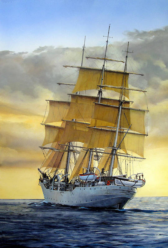 Sailing Ship Art Print featuring the painting Eventide by Tim Johnson