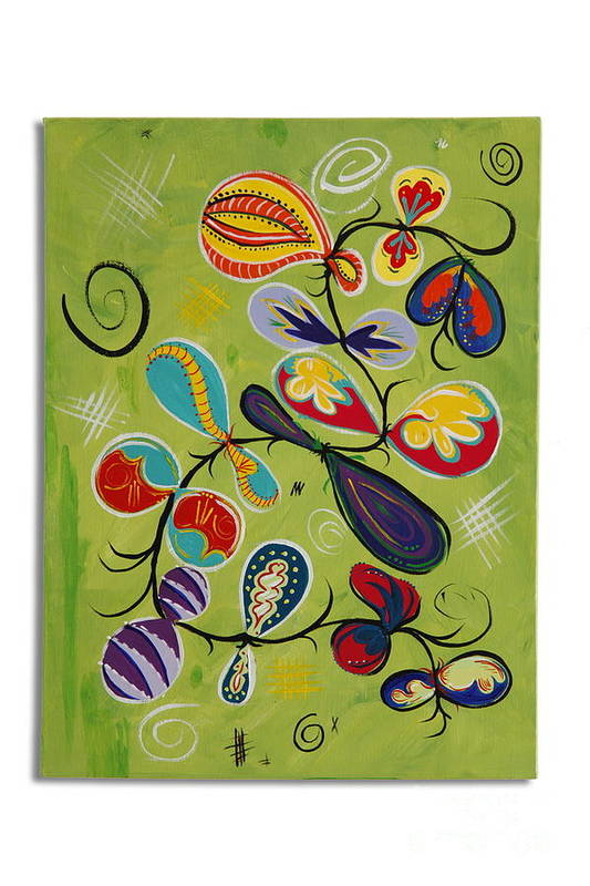 Abstract Original With Bright Multi Colored Shapes And Details On A Bright Green Background. Art Print featuring the painting Faire by Mary Fortier