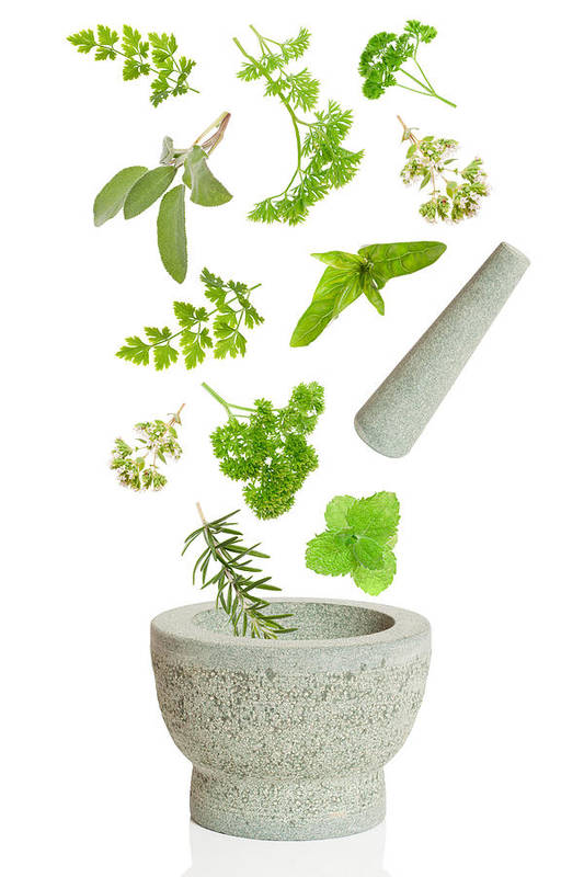 Pestle Art Print featuring the photograph Falling Herbs by Amanda Elwell