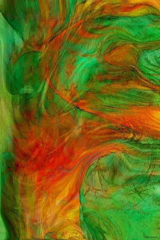 Abstract Art Art Print featuring the digital art Fire Tree by Linda Sannuti
