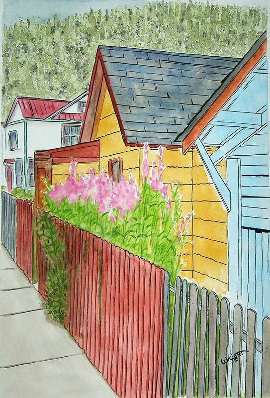 Alaska Art Art Print featuring the painting Fireweed In Juneau by Larry Wright