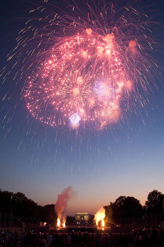 Fireworks Art Print featuring the photograph Fireworks Over Lincoln by Colleen Joy
