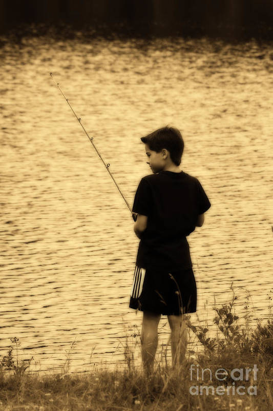 Child Art Print featuring the photograph Fishing Patience by Cathy Beharriell