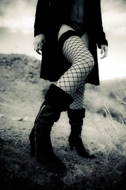 Leg Art Print featuring the photograph Fishnet Leg by Scott Sawyer